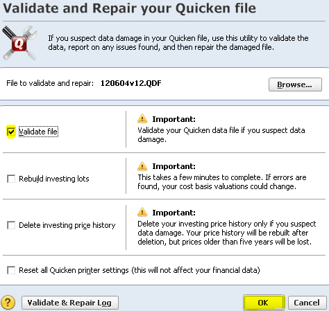 Quicken 7 Validate Quicken File