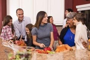 Family enjoying Thanksgiving dinner
