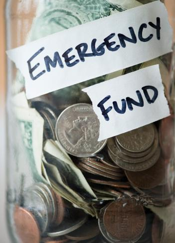Emergency fund cash in jar